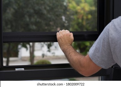 black pvc windows with mosquito net