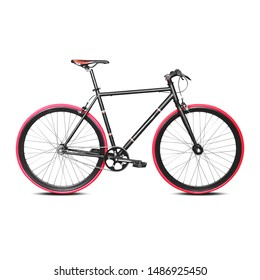 Black Racing Bicycle Isolated on White. Modern Mountain or Road Hybrid Bike with Red Tires. Lightweight Traveler Bike with Brake Levers Side View. Mtn or Mtb Bike with Aerodynamic Performance