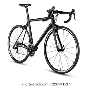 black racing sport road bike bicycle racer isolated on white background