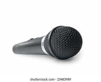 black radio microphone isolated on white. shallow dof