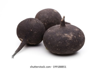Black radish isolated on white background