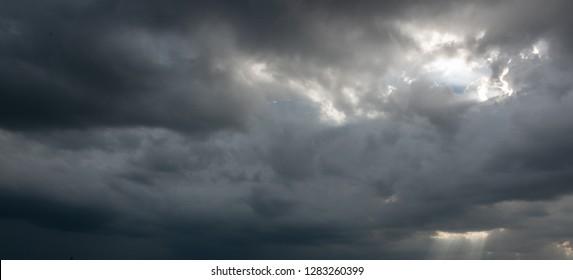 Black rain clouds, large storms