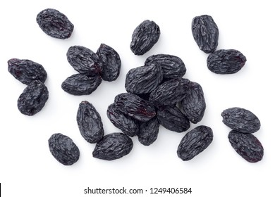 black raisins isolated on the white background, top view