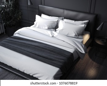 Black realistic bed with white linens in dark room, 3d rendering