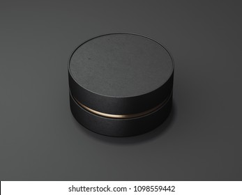 Black realistic round box stands on black floor. 3d rendering