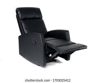 Black reclining chair isolated on white background