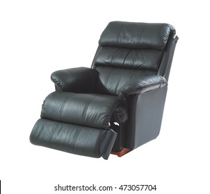 Black reclining chair isolated on white background with clipping path.
