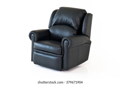 Black reclining leather chair on white background