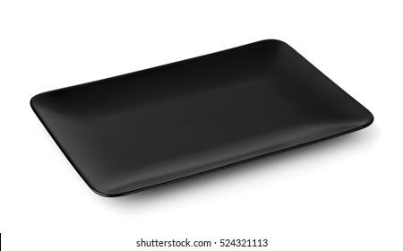 Black rectangle serving platter isolated on white