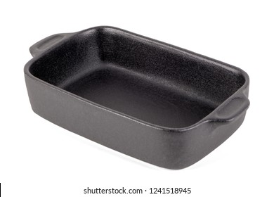 Black rectangular pot for stove. Isolated on white background.