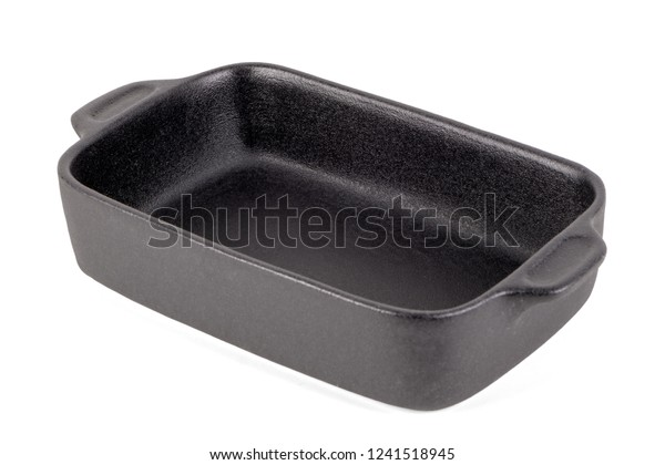 Black rectangular pot for stove. Isolated on white background.