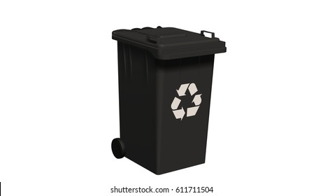 Black Recycle bin with recycle sign isolated on white - 3d rendering
