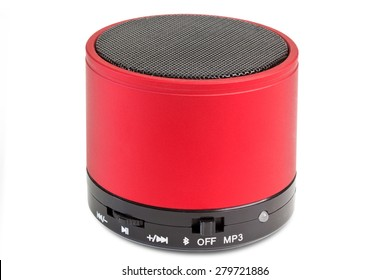 Black and red Blue tooth loudspeaker - isolated on white background