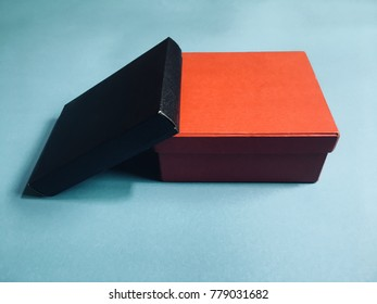 Black and red box on a blue background