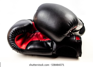 Black and Red Boxing Gloves isolated on white background