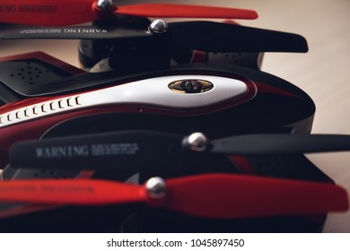 black and red drone in detail