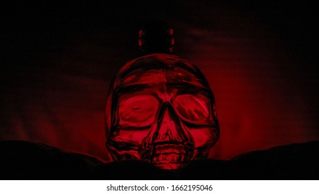 Black and red glass skull