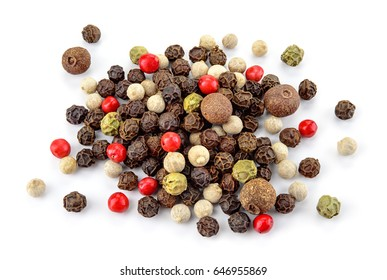 Black, red, green, white and allspice peppercorns isolated on white background. Heap of spice. Mix of different peppers. Full depth of field.
