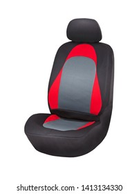 Black, red and grey net textile car seat cover with headrest, upper front side view, isolated on white