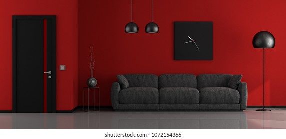 Black and red minimalist living room with sofa and closed door - 3d rendering