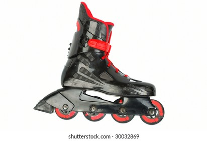 Black with red roller skates closeup  isolated on white background.