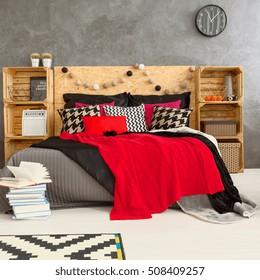 Black Red White Bedroom Decor Square Stock Photo Edit Now 508409257