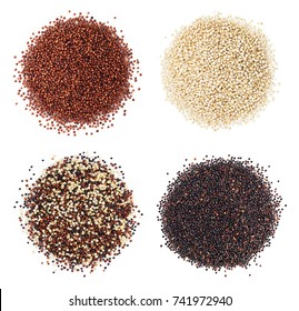 Black, red and white quinoa grains isolated on white background. Healthy food.