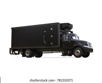 Black refrigerator truck with black trailer unit - on white background - 3D Illustration