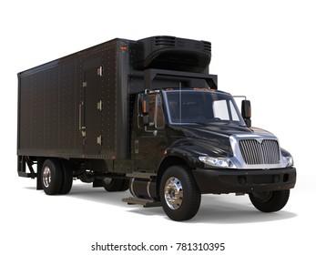 Black refrigerator truck with black trailer unit - 3D Illustration