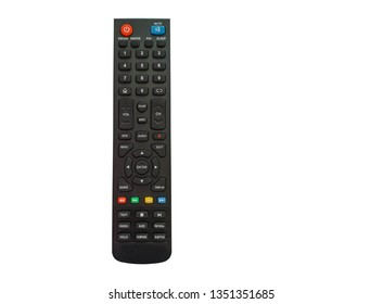 The black remote control has a button to control the TV on a white background and cliping path.