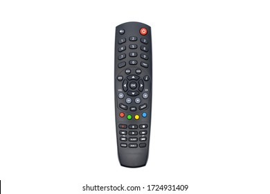 Black remote control for tv on a white background