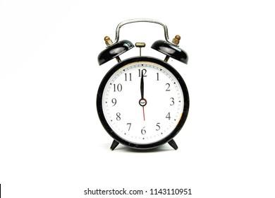 Black retro alarm clock.