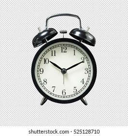 Black retro alarm clock on isolated background / clipping paths