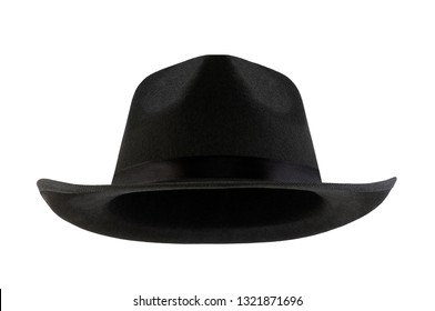 Black retro hat isolated on white background with clipping path