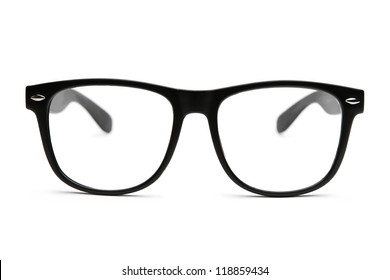 Black retro nerd frames on white background with clipping paths for outline and inside
