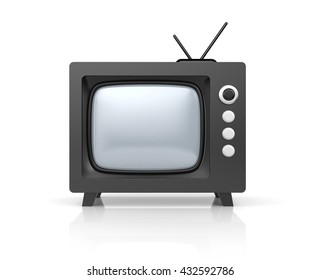 Black retro TV. 3d illustration