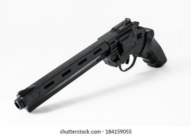 Black Revolver Pistol Gun on a White Background
