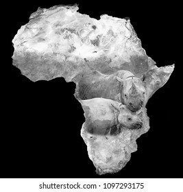 Black rhino with calf embedded on satellite image of the African continent. Elements of image supplied by NASA