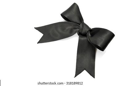 black ribbon bow isolated on white background