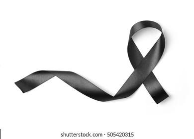 Black ribbon isolated on white background , Photo object