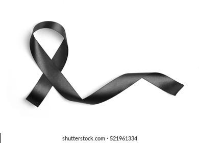 Black ribbon  on white background , Photo object