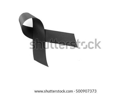 Black Ribbon Symbol Mourning On White Stock Photo Edit Now