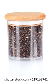 black rice in jar on white background