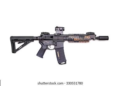"The Black Rifle: custom build 9"" AR-15 SBR isolated on a white background, studio shot"