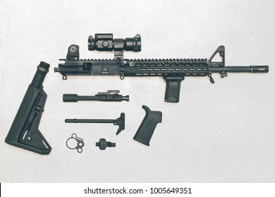 Black Rifle parts on white backdrop