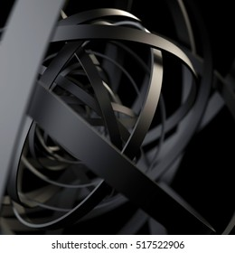black rings. dark abstract background. 3d rendering