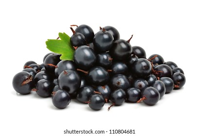 Black ripe currants isolated on the white background