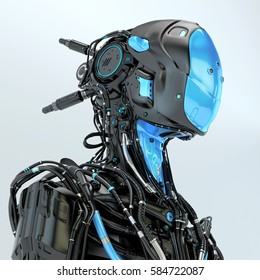 Black robotic soldier pilot with blue elements, 3d rendering