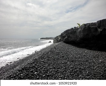 Black rock beach Kalapana Hawaii coast