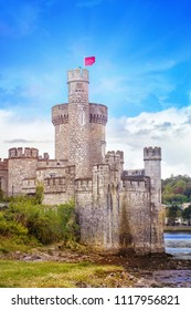 Black Rock Castle with a red flag in  Cork. Ireland.